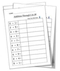 Addition through 1 to 10 first grade math