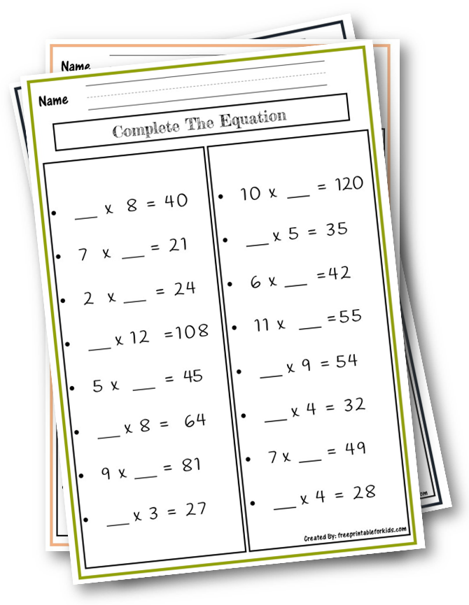 Grade 3: Complete The equation