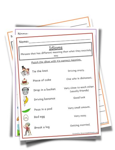 Idiom for Third Grade