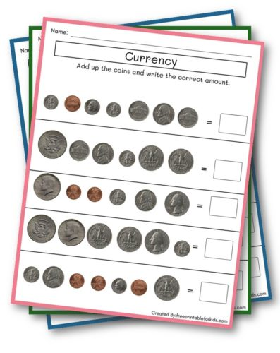 Currency Practice sheet for third grade